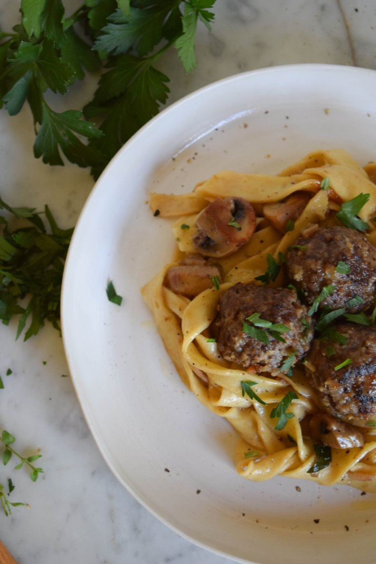 Meatballs with Mushrooms and Cream Sauce - abagofflour.com -4