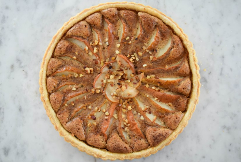 Pear Tart with Hazelnut Frangipane - abagofflour.com