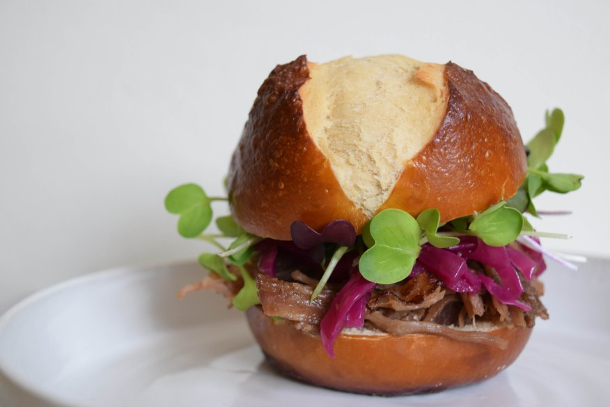 Pretzel Buns with Pulled Pork-1-5
