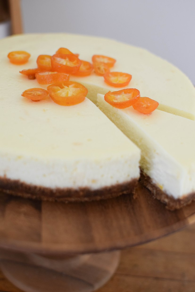 Meyer Lemon Cheesecake with Candied Kumquats | abagofflour.com