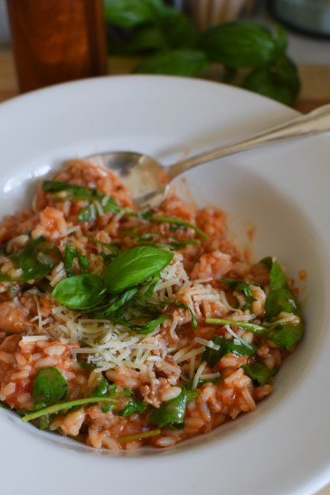 Italian Sausage Risotto with Tomatoes and Spinach | abagofflour.com
